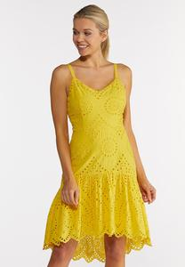 Yellow Eyelet High-Low Dress