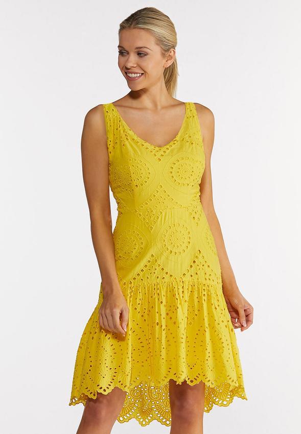 Plus Size Yellow Eyelet High-Low Dress