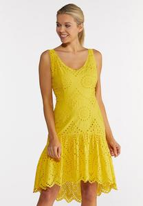 Plus Size Yellow Eyelet High-Low Dress