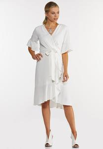 Plus Size White Faux Wrap Dress