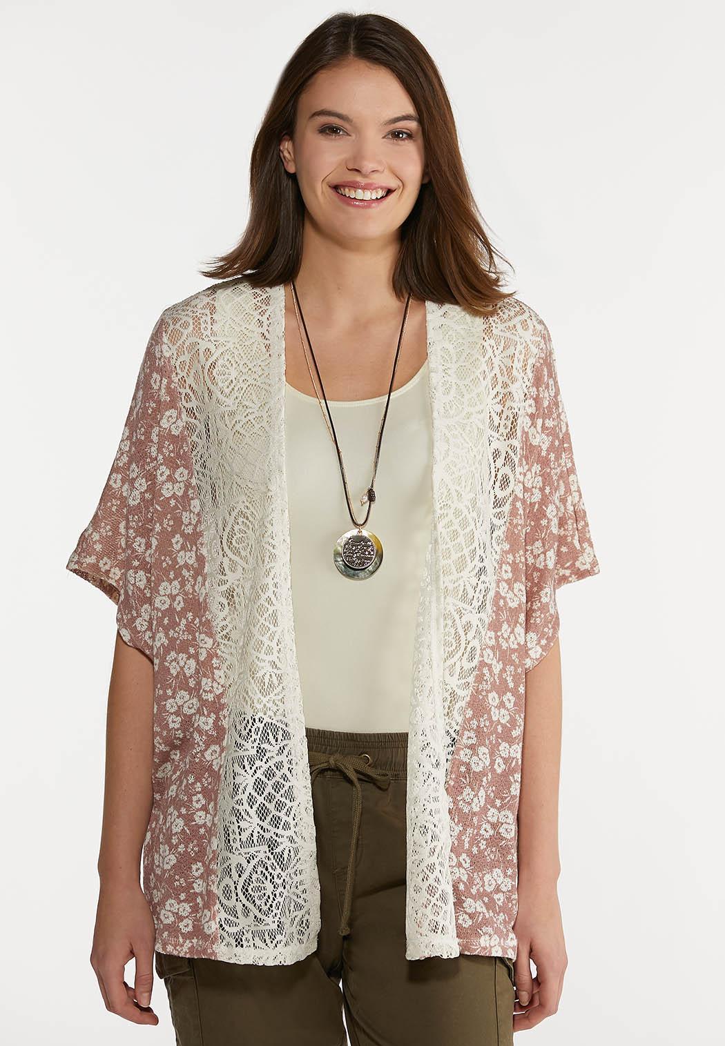 Plus Size Lace Trim Mauve Floral Cardigan