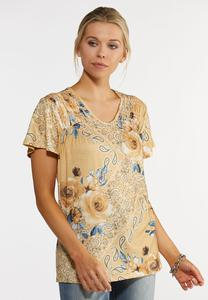 Plus Size Smock Shoulder Paisley Top