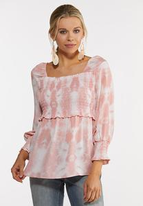 Plus Size Pink Tie Dye Smocked Top
