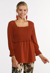 Plus Size Solid Smocked Poet Top
