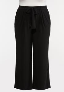 Plus Extended Tie Front Palazzo Pants