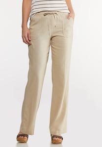 Petite Drawstring Linen Pants