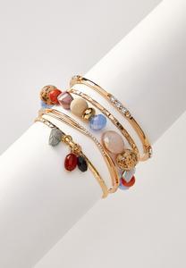 Multi Bead Bangle Set