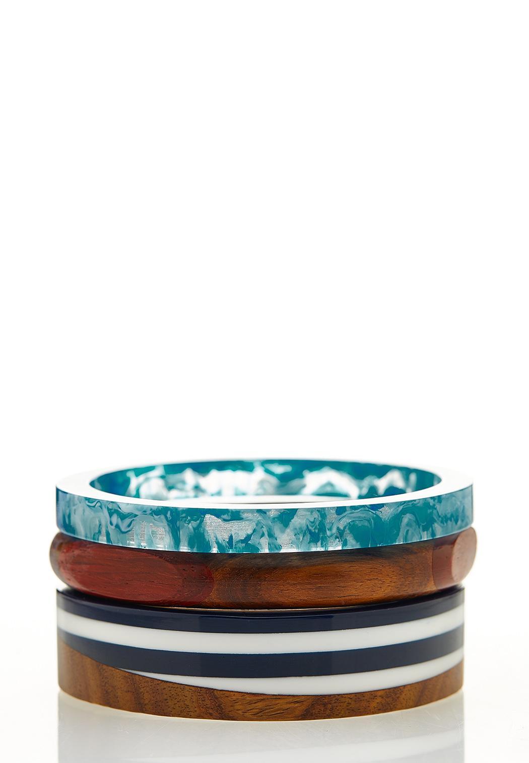 Colored Lucite Wood Bangle Set
