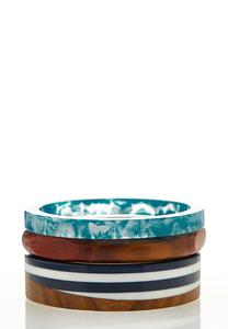 Colored Lucite Wood Bangle Set