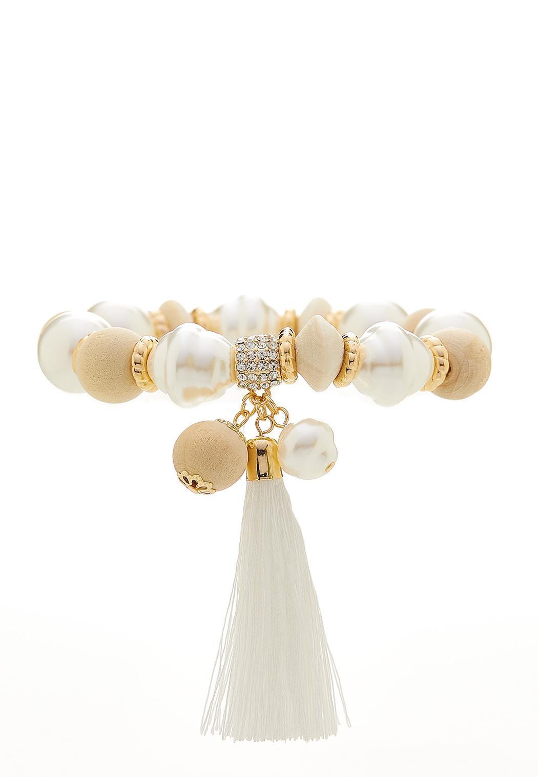 White Tasseled Stretch Bracelet