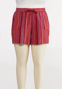 Plus Size Pink Stripe Linen Shorts