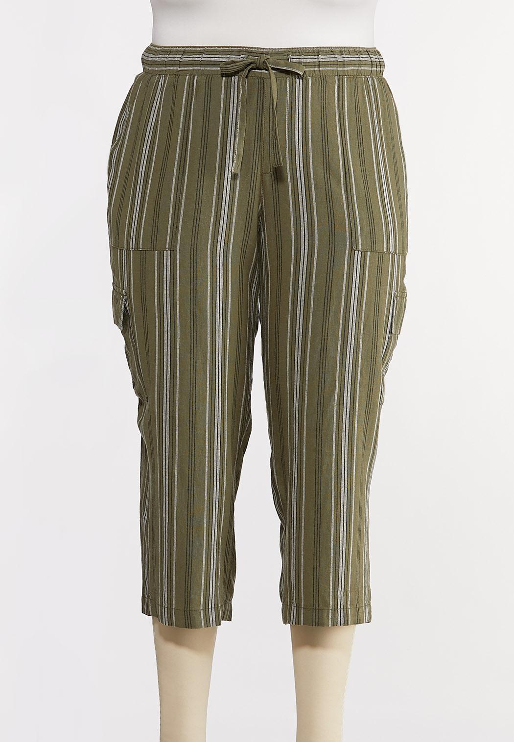 Plus Size Striped Linen Crop Cargo Pants