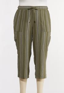 Plus Size Striped Linen Crop Cargo Pants