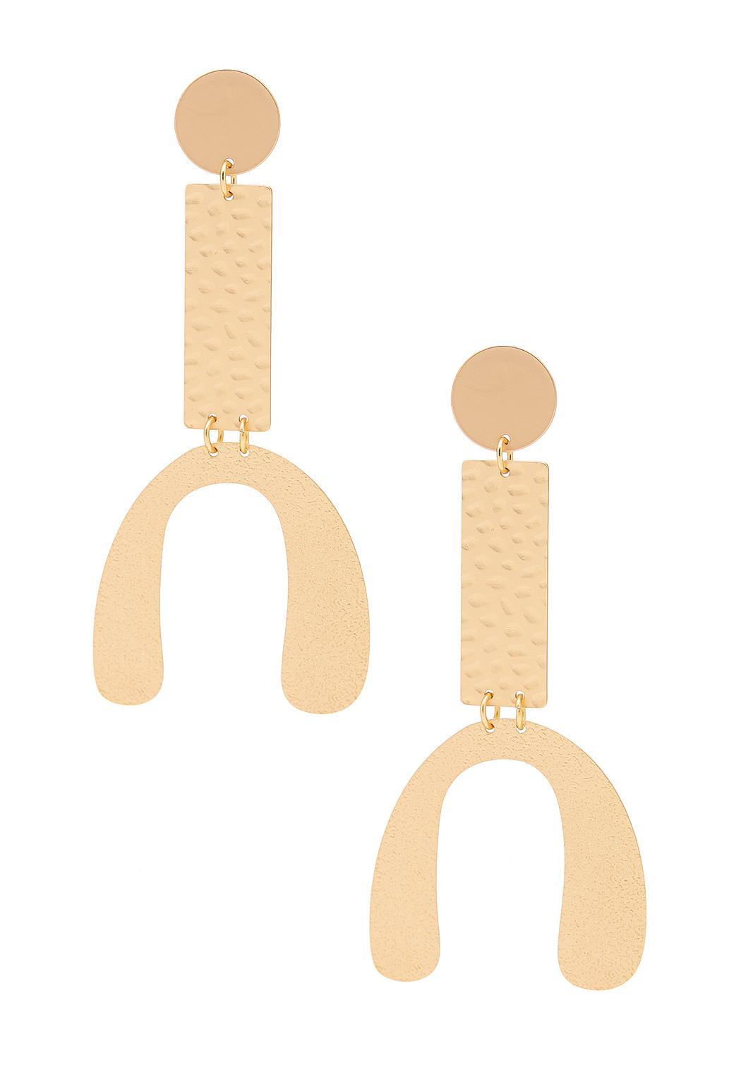 Geo Hammered Gold Earrings