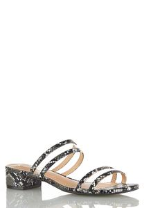 Wide Width Snake Lucite Strap Sandals