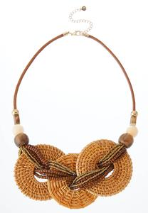 Triple Straw Ring Necklace