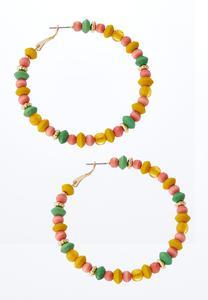 Pastel Bead Hoop Earrings