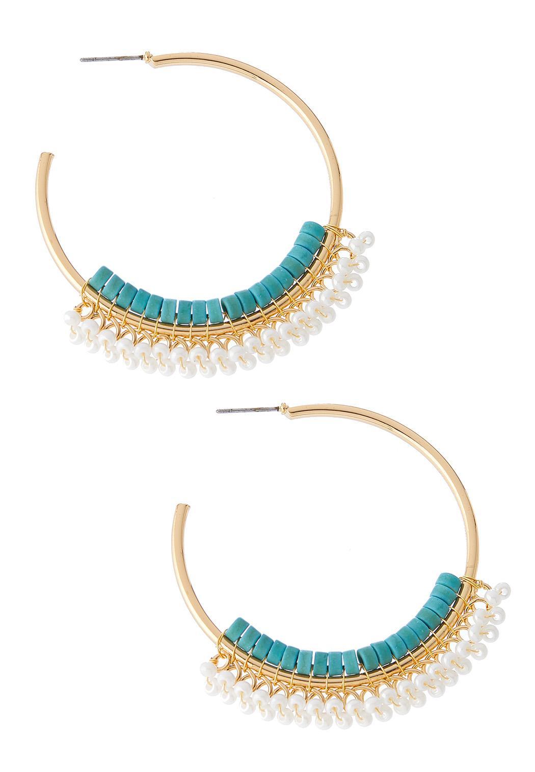 Beaded Metal Hoop Earrings
