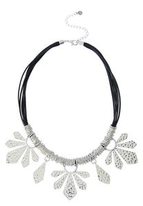 Textured Metal Petal Cord Necklace