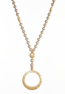 Beaded Open Circle Pendant Necklace
