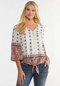 Plus Size Twin Print Tie Top
