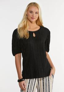 Plus Size Textured Puff Sleeve Top