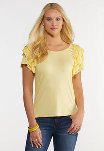 Ruffled Scoop Neck Tee