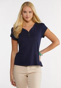 Plus Size Tulip Sleeve Henley Top