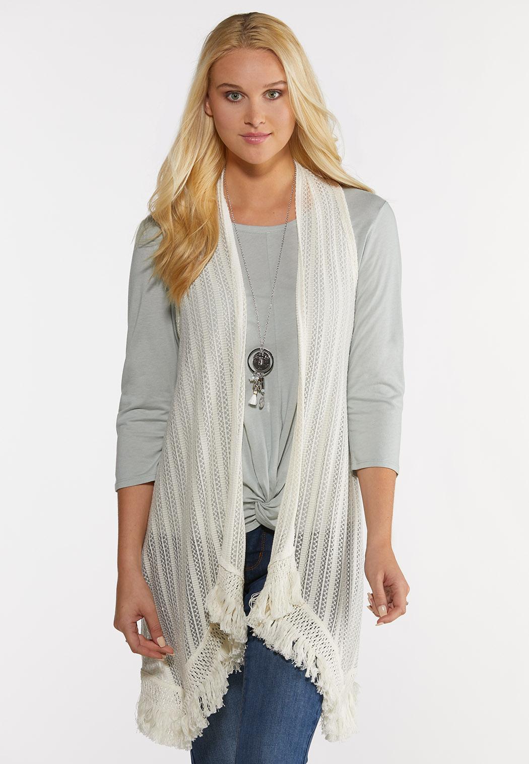 Plus Size Ivory Fringe Vest