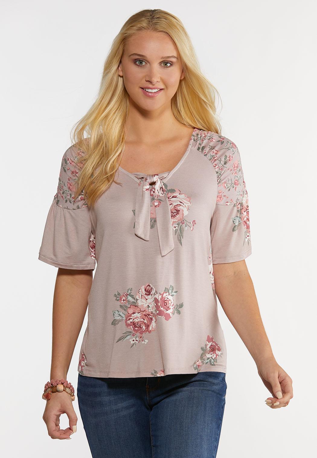 Plus Size Mauve Floral Top