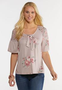 Plus Size Mauve Floral Top