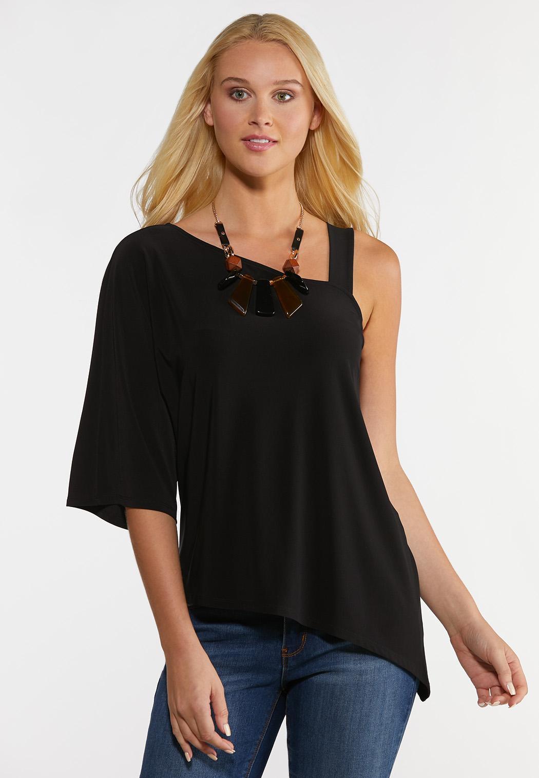 Plus Size Peek-A-Boo Shoulder Top