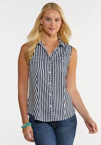 Striped Collared Sleeveless Top