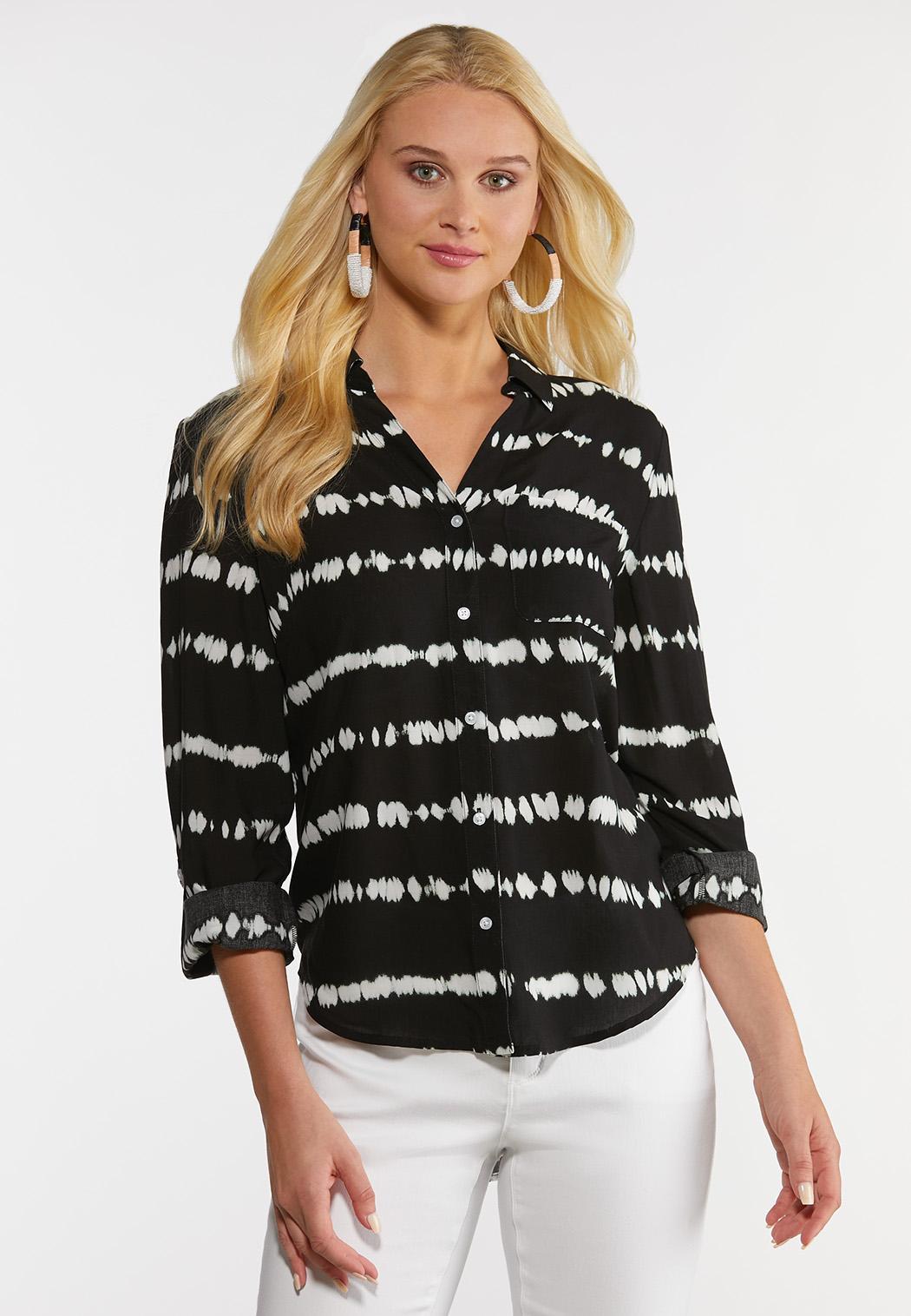 Plus Size Tie Dye Button Down Shirt