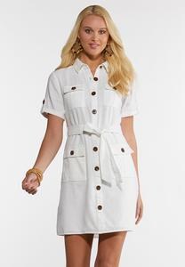 Plus Size Tie Waist Linen Utility Dress