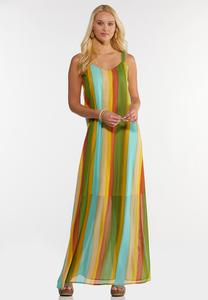 Plus Size Citrus Stripe Maxi Dress