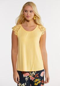 Plus Size Lace Cap Sleeve Top