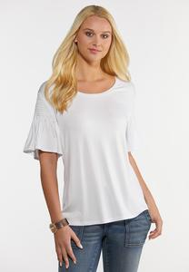 Plus Size Solid Smocked Sleeve Top