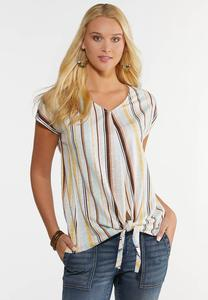 Plus Size Striped Tie Hem Top