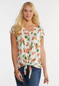 Plus Size Orange Floral Tie Front Top