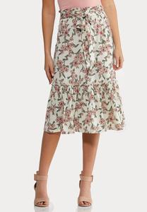 Plus Size Floral Flounced Skirt