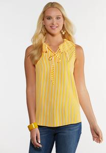 Plus Size Golden Stripe Woven Tank