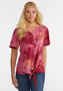 Raspberry Dyed Eyelet Top
