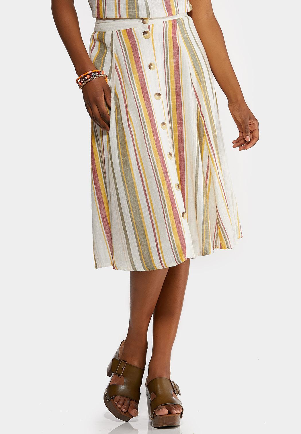 Linen Stripe Button Front Skirt