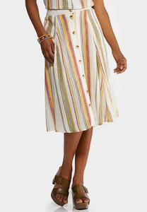 Plus Size Linen Stripe Button Front Skirt
