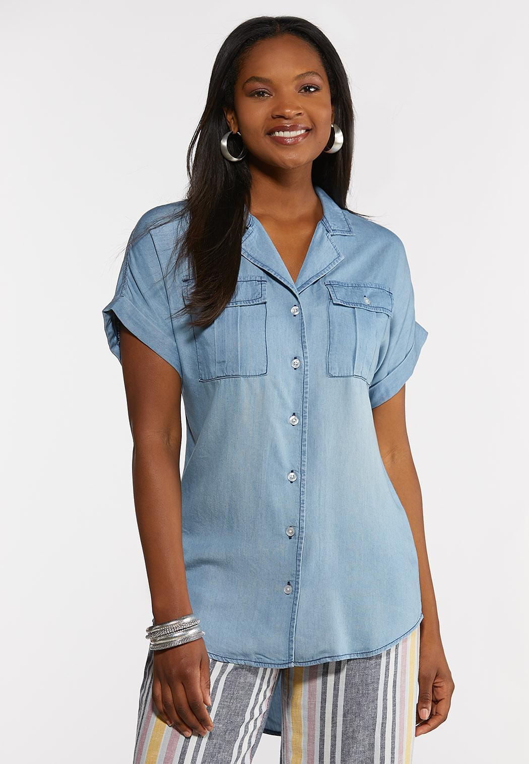 Chambray Roll Sleeve Shirt