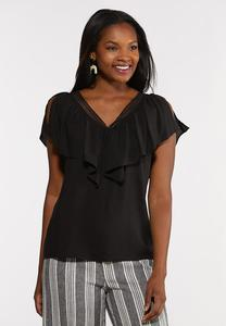 Plus Size Black Flutter Trim  Top