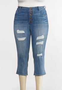 Plus Size Cropped Distressed Skinny Jeans