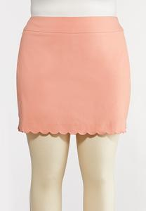 Plus Size Solid Scalloped Skort