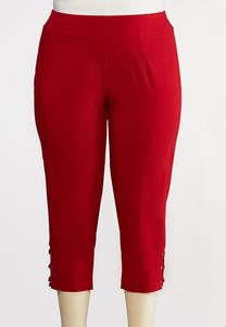 Plus Size Cropped Red Lattice Pants